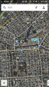iPhoneで衛星写真を閲覧