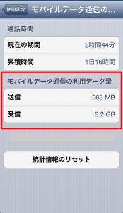 iPhone5のテザリング通信量